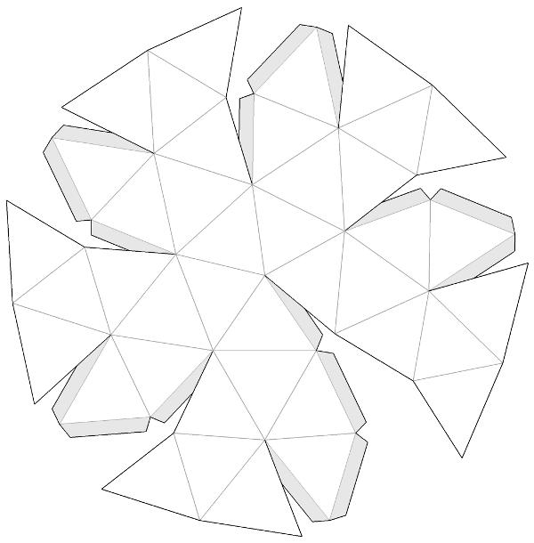 Desenvolvemento dunha cúpula xeodésica V2. Recortable con solapas.